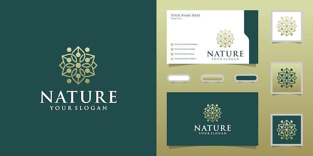 Plantilla de diseño de logotipo de flor natural de lujo y tarjeta de visita