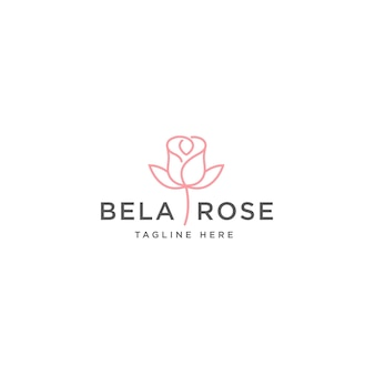 Plantilla de diseño de logotipo de flor rosa rosa
