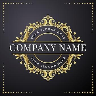 Plantilla de diseño de logotipo floral dorado