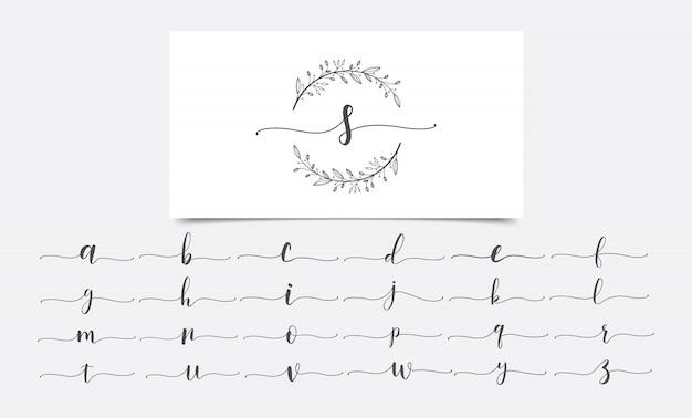Plantilla de diseño de logotipo floral iniciales de acuarela
