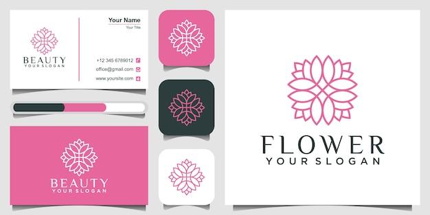Plantilla de diseño de logotipo floral monoline simple y elegante y tarjeta de visita