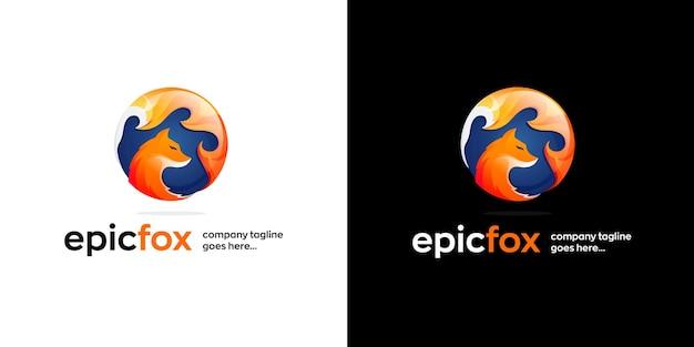 Plantilla de diseño de logotipo de fox en dos variantes.