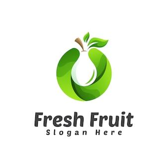 Plantilla de diseño de logotipo de fruta fresca pera