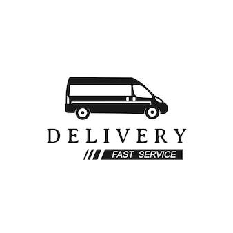 Plantilla de diseño de logotipo de furgoneta de entrega