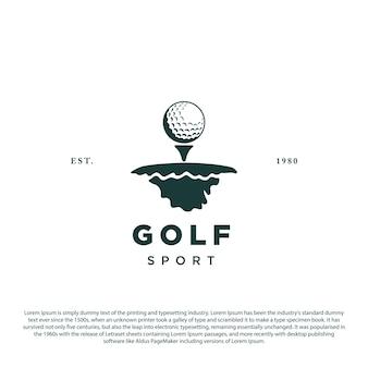 Plantilla de diseño de logotipo de golf logotipo de golf simple minimalista con suelo