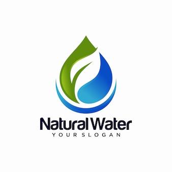 Plantilla de diseño de logotipo de gota de agua naturaleza hoja