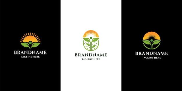 Plantilla de diseño de logotipo de granja. semilla, deja, sol, crece.