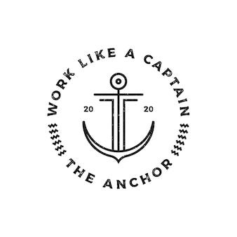 Plantilla de diseño de logotipo de hipster vintage retro grunge anchor line art