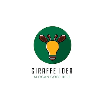 Plantilla de diseño de logotipo de idea de jirafa en forma de círculo. la combinación del logotipo de la lámpara de blub, animal jirafa aislado
