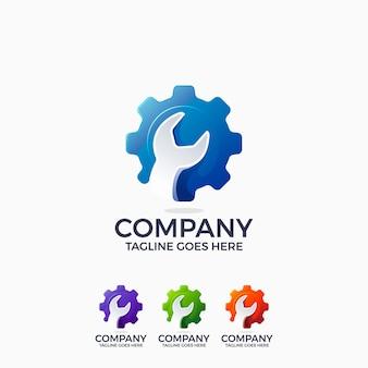 Plantilla de diseño de logotipo de ingeniería de mecánica de llave y rueda dentada