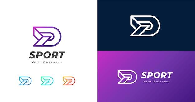 Plantilla de diseño de logotipo inicial letra d, concepto de línea