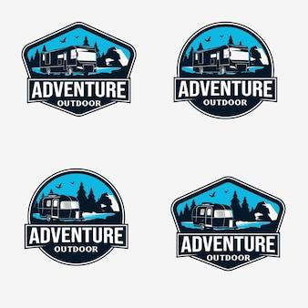 Plantilla de diseño de logotipo de insignia de aventura al aire libre