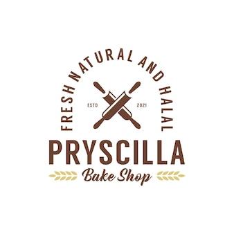 Plantilla de diseño de logotipo de insignia de panadería panadería vintage