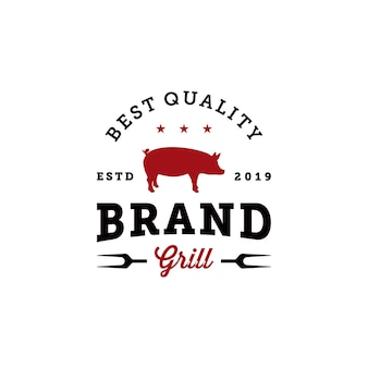 Plantilla de diseño de logotipo de insignia de parrilla de barbacoa vintage