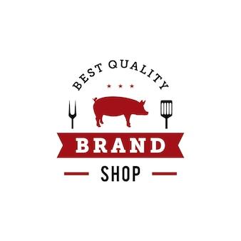 Plantilla de diseño de logotipo de insignia de parrilla de barbacoa