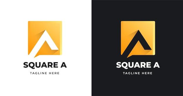 Plantilla de diseño de logotipo letra inicial a con estilo de forma cuadrada