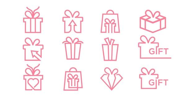 Plantilla de diseño de logotipo de línea de conjunto de iconos de regalo