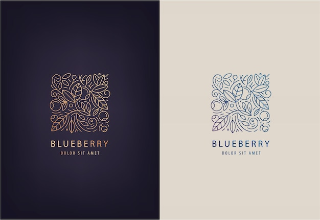 Plantilla de diseño de logotipo de línea hojas y arándanos. insignia de la naturaleza para centros de medicina holística, productos alimenticios naturales y orgánicos.