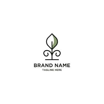 Plantilla de diseño de logotipo de línea de naturaleza rosa