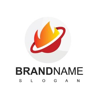 Plantilla de diseño de logotipo de llama circular