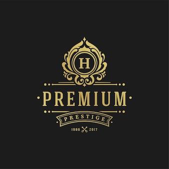 Plantilla de diseño de logotipo de lujo. diseño de formas de adorno de viñetas victorianas.