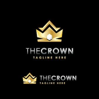 Plantilla de diseño de logotipo de lujo premium corona