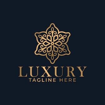 Plantilla de diseño de logotipo de mandala abstracto de lujo
