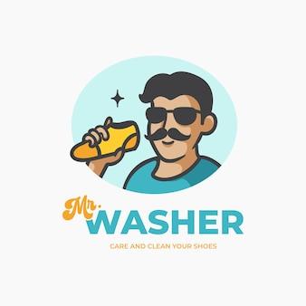 Plantilla de diseño de logotipo de mascota de personaje retro de cuidado y lavado de zapatos