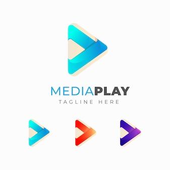Plantilla de diseño de logotipo de medios de reproducción coloridos. diseño de símbolo de juego de triángulo