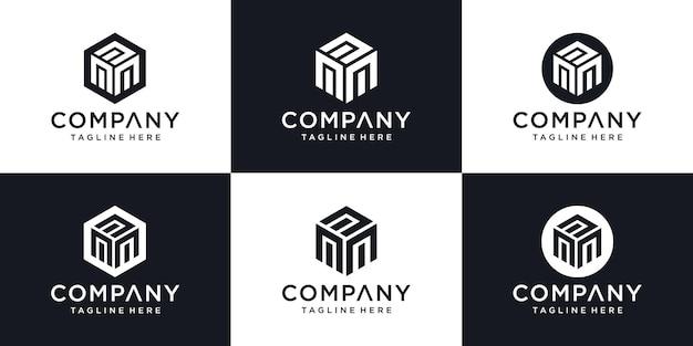 Plantilla de diseño de logotipo mínimo letra inicial abstracta m