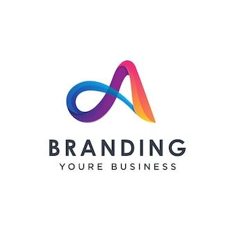Plantilla de diseño de logotipo moderno colorido letra a