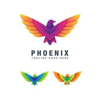 Plantilla de diseño de logotipo moderno colorido pájaro eagle hawk
