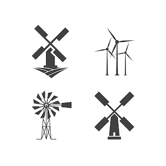 Plantilla de diseño de logotipo de molino de viento
