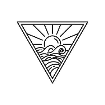 Plantilla de diseño de logotipo monoline, puesta de sol y olas del mar