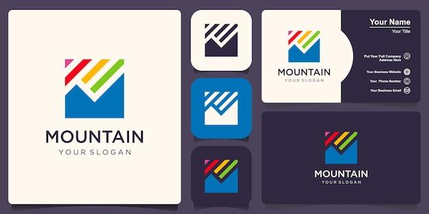 Plantilla de diseño de logotipo de montaña mínima creativa
