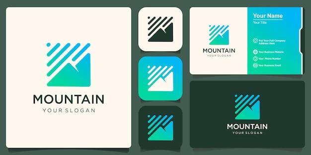 Plantilla de diseño de logotipo de montaña mínima