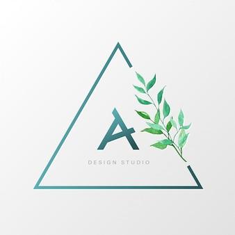 Plantilla de diseño de logotipo natural de triángulo para branding, identidad corporativa.