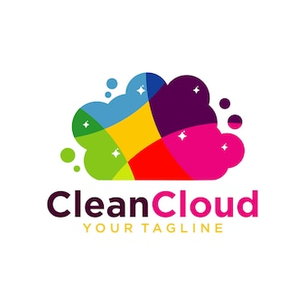 Plantilla de diseño de logotipo de nube limpia