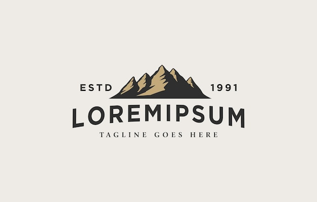 Plantilla de diseño de logotipo de paisaje de montaña