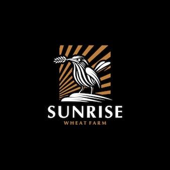 Plantilla de diseño de logotipo de pájaro abstracto, logotipo de pájaro creativo simple, logotipo de pájaro con trigo en pico