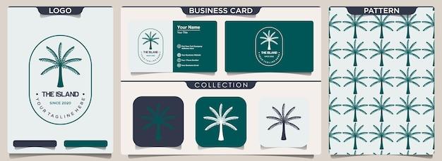 Plantilla de diseño de logotipo con palmera