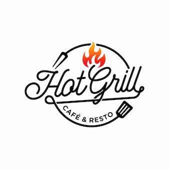 Plantilla de diseño de logotipo de parrilla caliente