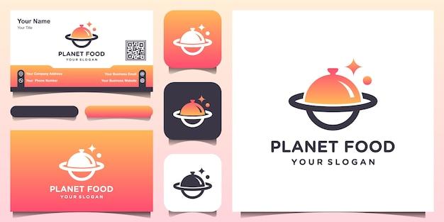 Plantilla de diseño de logotipo de planeta de alimentos abstractos y tarjeta de visita