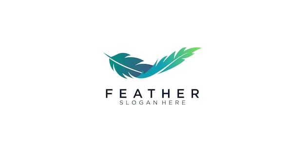 Plantilla de diseño de logotipo de pluma