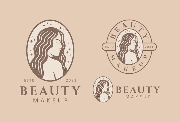 Plantilla de diseño de logotipo para salón de belleza, peluquería, maquilladora cosmética