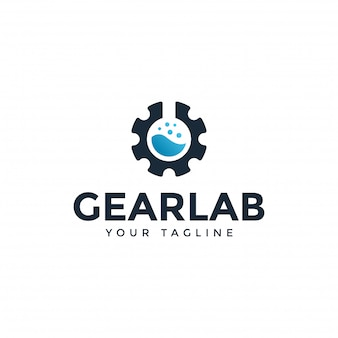 Plantilla de diseño de logotipo de science lab y mechanical gear