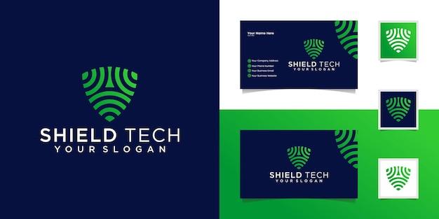 Plantilla de diseño de logotipo de seguridad de escudo tecnológico y tarjeta de visita