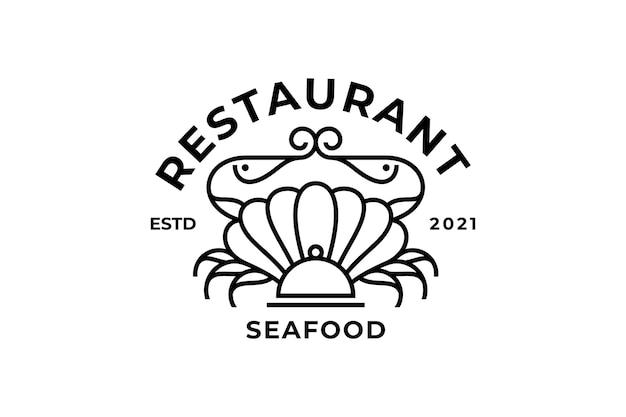 Plantilla de diseño de logotipo de sello de restaurante de mariscos creativo