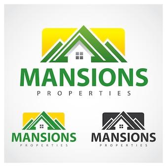 Plantilla de diseño de logotipo de symbol mansion de propiedades