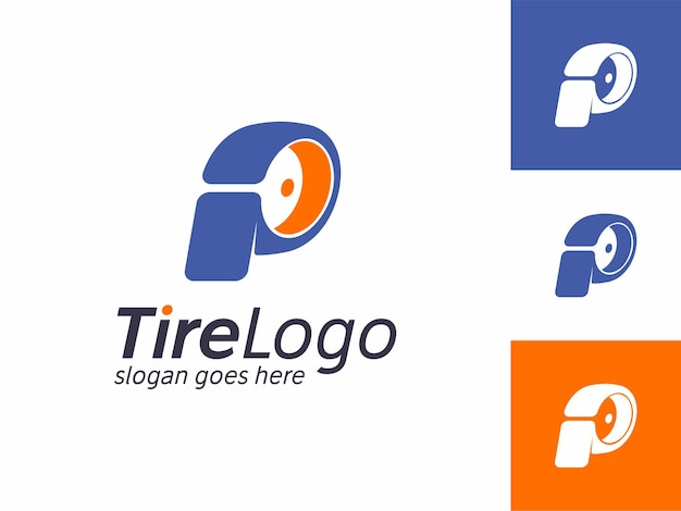 Plantilla de diseño de logotipo de taller de identidad de marca comercial con forma de llanta p